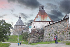 Solovetsky Monastery. Solovki fortress wall with towers Royalty Free Stock Photos