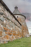 Solovetsky Monastery. Solovki fortress wall with towers Stock Images