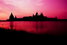 Solovetsky monastery in sunset lighting Royalty Free Stock Photography