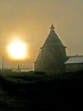 Solovetskyklooster bij zonsondergang Stock Foto