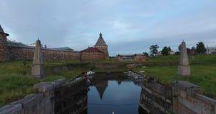 Solovki修道院的看法从鸟` s眼睛视图的 俄国 俄罗斯,阿尔汉格尔斯克州地区 股票视频