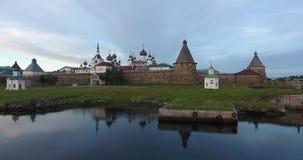 Solovki修道院的看法从鸟` s眼睛视图的 俄国 俄罗斯,阿尔汉格尔斯克州地区 股票录像