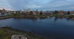 Solovki修道院的看法从鸟` s眼睛视图的 俄国 俄罗斯, 影视素材