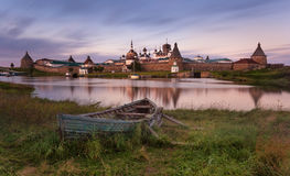 Free Solovki Island, Russia. Classic Scenic View Of The Solovetsky  Spaso-Preobrazhensky Transfiguration Monastery And The Big Old Boat Stock Photography - 93673572