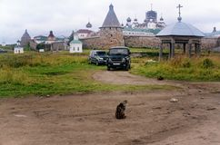 Solovki Monastery Russia seen from a Country Road royalty free stock images