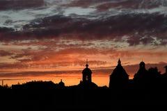 Solovki, por do sol Fotografia de Stock