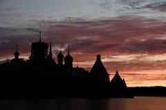 Solovki solnedgång Arkivfoton