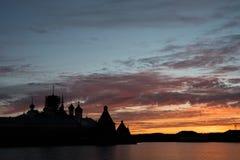 Solovki, Sonnenuntergang Lizenzfreies Stockbild