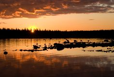 Solovki, sunset. Stock Photos