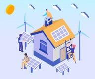 Solpanel använt i isometriskt konstverkbegrepp för hus stock illustrationer