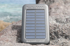 Solpanel - energi på stranden Royaltyfria Foton