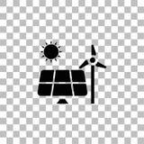 Solpanel och v?derkvarnar f?r energisymbol framl?nges vektor illustrationer