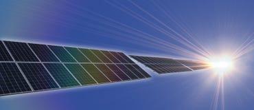 Solpanelframsidasolljus Arkivfoton