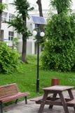 Solpanelgatabelysning Arkivbild