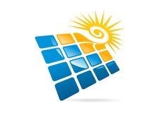 Solpanellogo, virvelsol och fyrkantig modern affärssymbolsymbol Arkivbilder