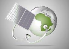 Solpaneltillförselmakt från solen till Afrika Begrepp för G Vektor Illustrationer