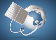 Solpaneltillförselmakt från solen till Afrika Begrepp för G Stock Illustrationer