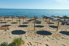Solparaplyer i strand Royaltyfri Bild