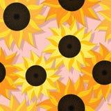 Solrosen mönstrar design stock illustrationer
