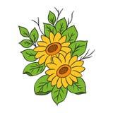 Solrosillustrationer från handen skissar stock illustrationer