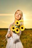 solroskvinna Fotografering för Bildbyråer