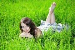 solroskvinna för blåa ögon Arkivfoto