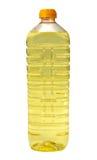 Solrosolja i en plastic flaska Arkivbilder