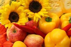 Solrosor, äpplen och peppar Fotografering för Bildbyråer