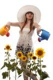 solrosor som bevattnar kvinnan Arkivfoto