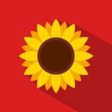 Solrossymbol i plan stil med lång skugga på röd bakgrund Arkivbilder