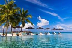 Solsäng och simbassäng i lyxig semesterort arkivfoto
