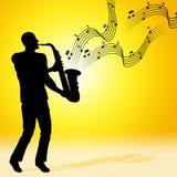 Solsaxofonen betyder Jazz Music And Acoustic Arkivbild