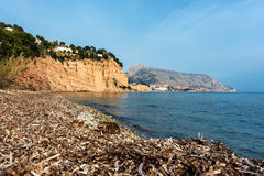Solsida nudist beach near town of Altea Royalty Free Stock Photos