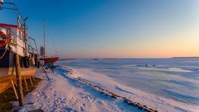 Solsken i hamnen Royaltyfria Foton