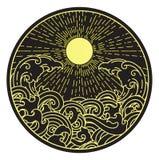 Solsken- och vattenv?g i rund form stock illustrationer