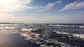 Solsken på havsvågor stock video