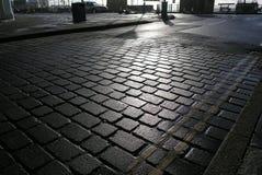 Solsken stenlagd gata Royaltyfri Fotografi