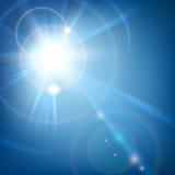 Solskenljus med linssignalljuset vektor illustrationer