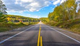 Solskenväg, enkelt punktperspektiv ner en landshuvudväg i sommar royaltyfri fotografi