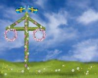 Solstånd med en majstång med kransar av tusenskönor och traditionell solståndberöm för malva i Sverige royaltyfri illustrationer