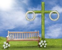 Solståndplats, gräsmatta med majstången, en bänk på gräsmattan och maskrosen och daisys i gräset vektor illustrationer