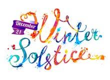 Solstício de inverno 21 de dezembro Pintura do respingo ilustração stock