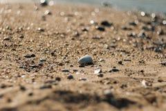 Solstenar av en strand, stenar övergav arkivbilder