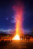 Solstice Bonfire. A bonfire for celebrating the summer solstice in Germany Stock Photography
