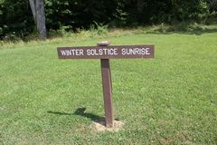Solstice Sunrise Sign board at Serpernt Mound royalty free stock photos