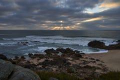 Solstrålar över havet royaltyfri foto