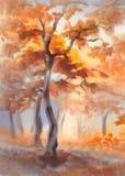 Solstrålar i höstskogvattenfärgen Royaltyfri Foto