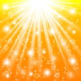 Solstrålar och ljusa effekter stock illustrationer