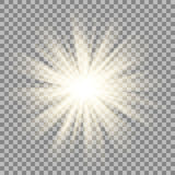 Solstrålar på genomskinlig bakgrund Stjärnasignalljuseffekt