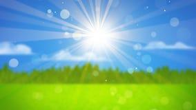 Solstrålar på suddigt landskap Royaltyfri Foto